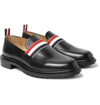 Thom Browne Grosgrain Trimmed Leather Penny Loafers Black