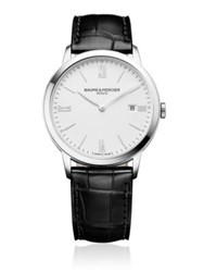 Baume And Mercier Classima 10323 Stainless Steel Alligater Embossed Leather Strap Watch Black