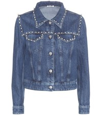 Miu Miu Embellished Denim Jacket Blue