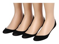 Hue Hidden Cotton Liner 4 Pair Pack Black Women's No Show Socks Shoes