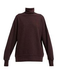 Calvin Klein 205W39nyc Distressed Trim Cotton Jersey Roll Neck Sweatshirt Brown