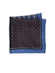 Saks Fifth Avenue Four Panel Silk Pocket Square Navy
