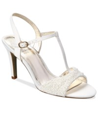 Adrianna Papell Alia T Strap Beaded Evening Sandals Women's Shoes Ivory