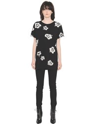 Saint Laurent Hibiscus Printed Cotton Jersey T Shirt