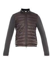 Moncler Maglia Contrast Panel Bomber Style Cardigan
