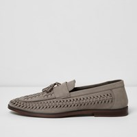River Island Mensgrey Woven Leather Loafers