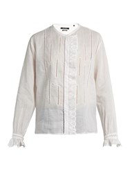 Isabel Marant Amos Collarless Ruffle Trimmed Blouse White