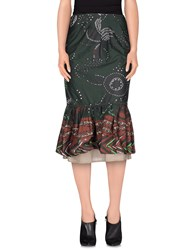 Manila Grace Denim Skirts 3 4 Length Skirts Women Military Green