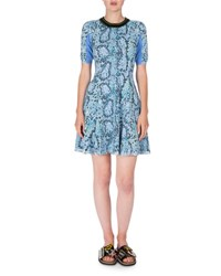 Kenzo Snake Print Stretch Jersey Fit And Flare Dress Midnight Blue