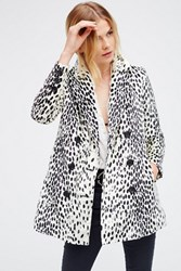 Free People Womens Leopard Print Fur Coat