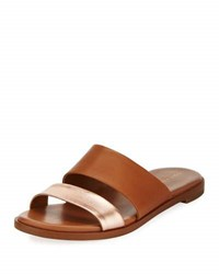 Cole Haan Anica Leather Slide Flat Sandal Brown Gold
