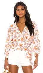 1.State 1. State Wrap Front Petal Leaf Garden Blouse In White. Gold Sun
