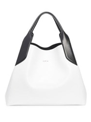 Lanvin Structured Leather Tote Optic White Light Grey Black