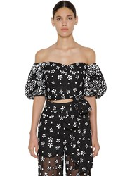 Self Portrait Floral Sequin Puff Sleeve Cropped Top Black