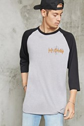 Forever 21 Def Leppard Band Baseball Tee Grey Black