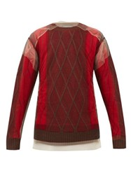 Y Project Tulle Overlay Argyle Wool Sweater Red
