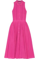 Raoul Blossom Pleated Cotton Broderie Angalise Midi Dress Magenta