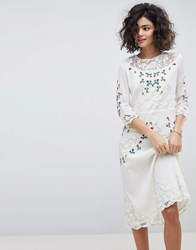 Intropia Hand Embroidered Lace Midi Dress Off White Cream