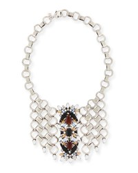 Dannijo Alessio Crystal Circle Link Bib Necklace Multi Colors