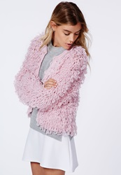 Missguided Catriona Loop Knit Shrug Cardigan Pale Pink Pink