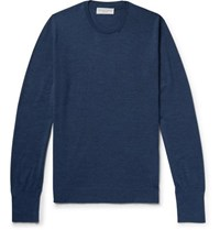 Officine Generale Slim Fit Wool And Silk Blend Sweater Navy