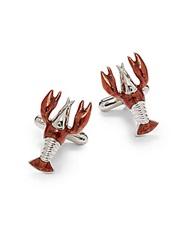 Saks Fifth Avenue Lobster Cuff Links Red Silver