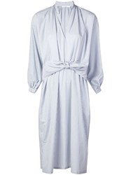 Tome Midi Shirt Dress With Sleeves Knot Blue