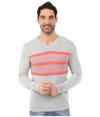 Calvin Klein Cotton Modal Links Links And Tuck Jacquard Stripe V Neck 14Gg French Coral Men's Sweater Red
