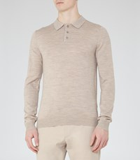 Reiss Mansion Mens Merino Wool Polo Shirt In Brown