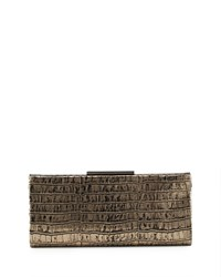Badgley Mischka Joyce Crocodile Embossed Leather Evening Clutch Bag Pewter Silver