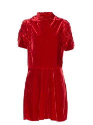 Etoile Isabel Marant Lazy Short Sleeved Velvet Dress Red