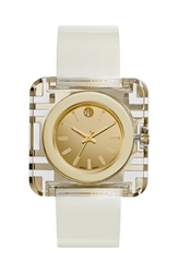 Tory Burch 'Izzie' Square Leather Strap Watch 36Mm Ivory Gold