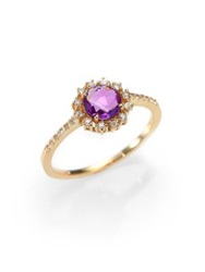 Suzanne Kalan Amethyst White Sapphire And 14K Yellow Gold Starburst Ring Amethyst Gold