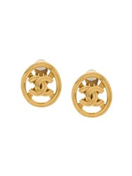 Chanel Vintage Cut Out Cc Earrings Gold
