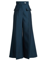 Roksanda Ilincic Hasani High Rise Wide Leg Trousers Navy