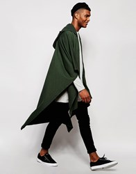 Asos Hooded Jersey Cape In Khaki Green