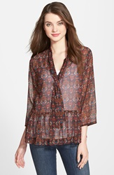 Kut From The Kloth 'Harmony' Sheer Scarf Neck Blouse Black