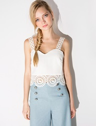 Pixie Market Lace Scalloped Pearl Crop Top