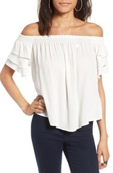 Astr The Label Women's Tiered Off Shoulder Top White