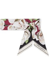 Dolce And Gabbana Floral Print Silk Scarf White