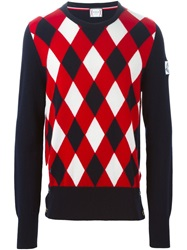 Moncler Gamme Bleu Argyle Pattern Sweater Blue