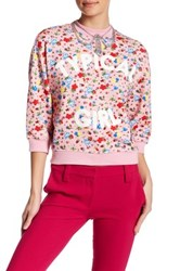 Love Moschino Typical Girl Floral Pattern Grommet Detail Pullover Pink