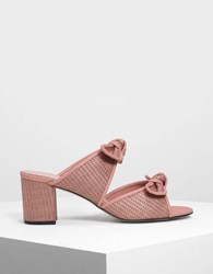 Charles And Keith Double Bow Raffia Mules Blush