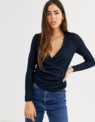 B.Young V Neck Fitted Top Navy