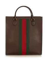 Gucci Web Panel Leather Tote Brown Multi
