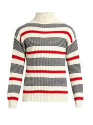 Tomorrowland Striped Roll Neck Sweater White Multi