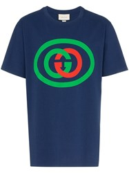 Gucci Interlocking Gg Logo T Shirt Blue