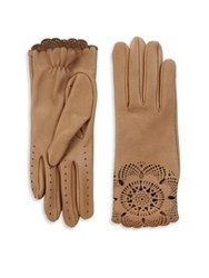 Burberry The Primrose Leather Lace Gloves Camel