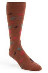 Men's Etiquette Clothiers 'Large Paisley' Socks Orange Rust Melange