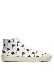 Saint Laurent Court Classic High Top Canvas Trainers White Multi